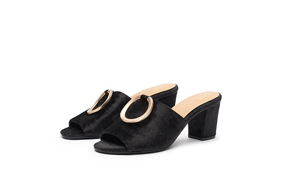 SUEDE SLIDE WITH METALLIC RING