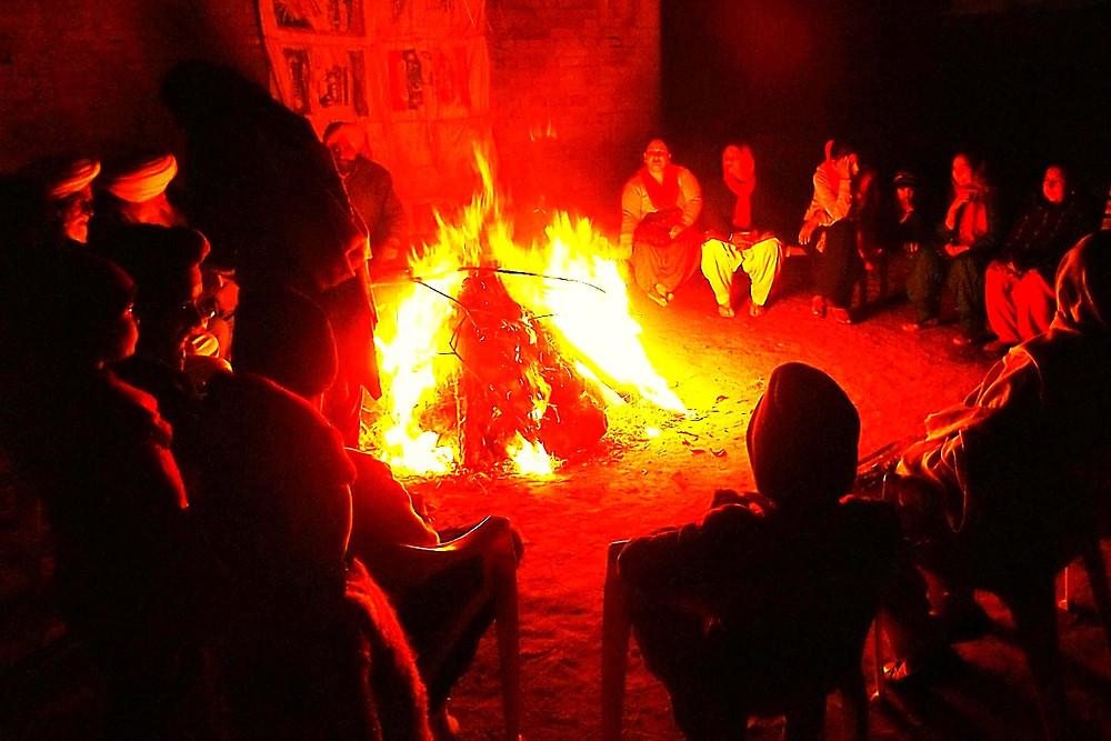 Sitting Around Bonfire