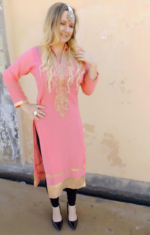 Wearing Traditional Attire; Kurti With Churidaar Leggings