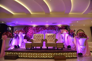 The Bride & Grooms Stage At Their Wedding Reception