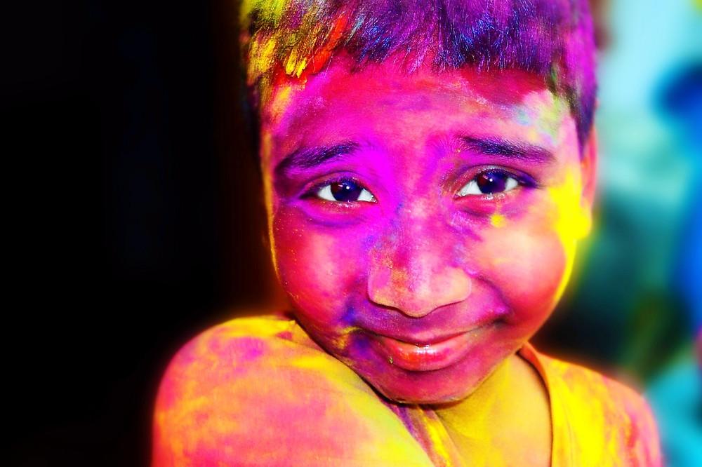 Boy Celebrating Holi Festival