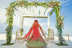 Indian bride showing wedding lehnga sari