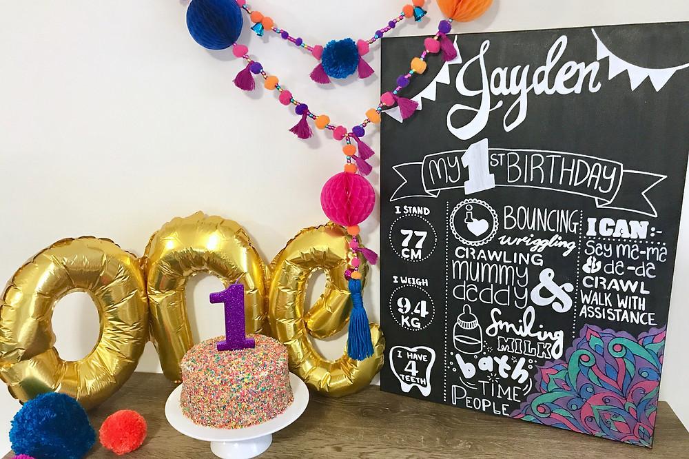 Cake Smash Decor Including The DIY Birthday Board