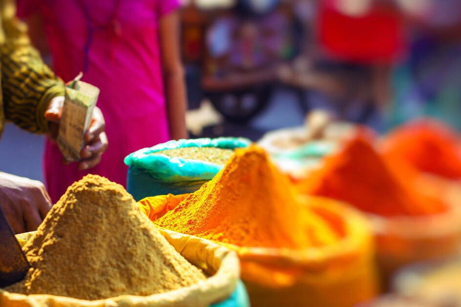 Spice Stall At A Bazaar.