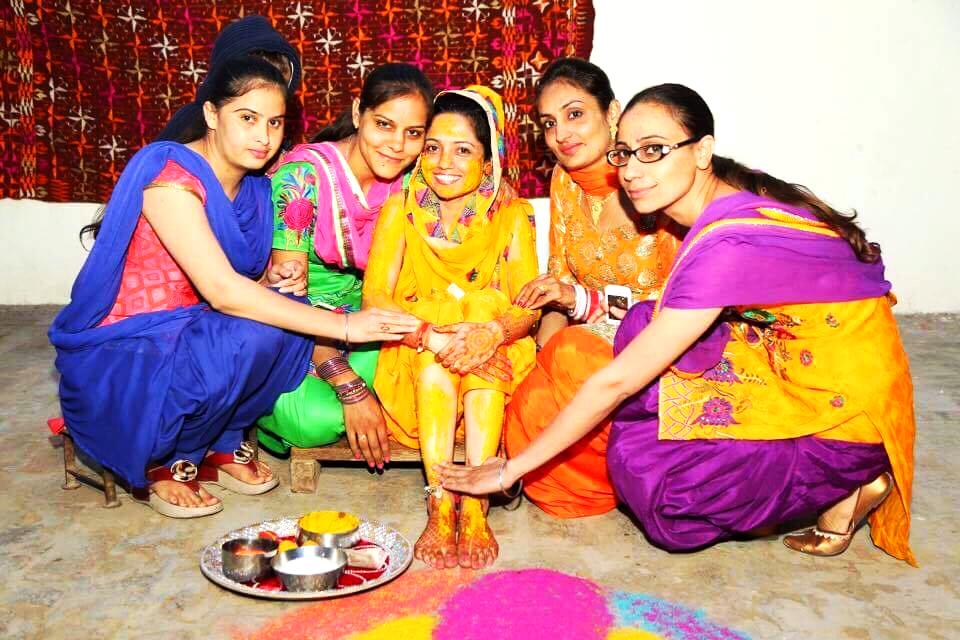 A Punjabi Bride Celebrating Vatna (Haldi) Ceremony