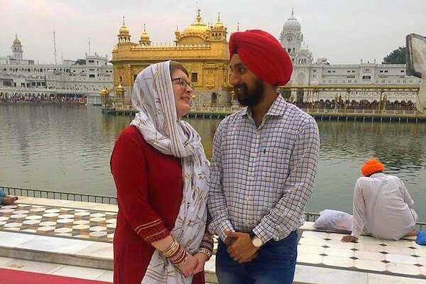 Krista and Aman at the Golden Temple