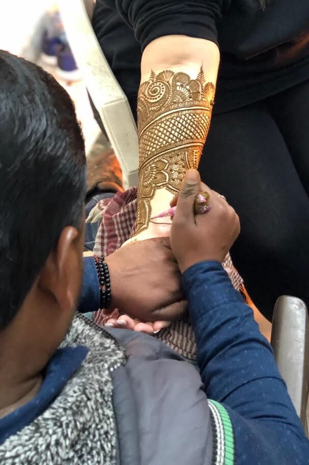 Nicole Having Mehndi Applied at her Mehndi Ceremony