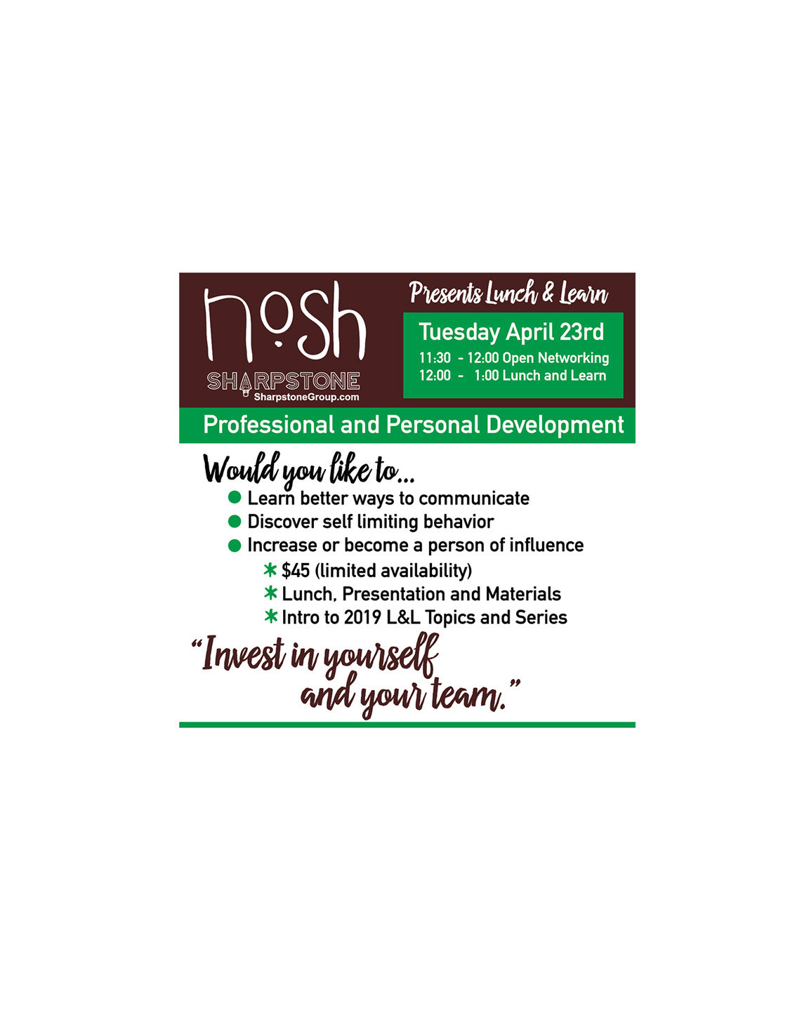Nosh Lunch & Learn: April 23