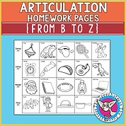 Articulation Homework Pages from B to Z