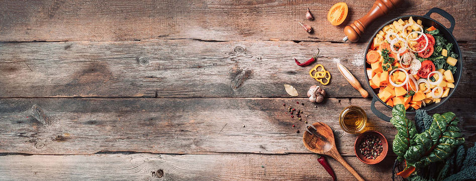 wood background with cooking ingredients