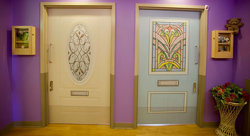 butterfly model of care colorful resident doors