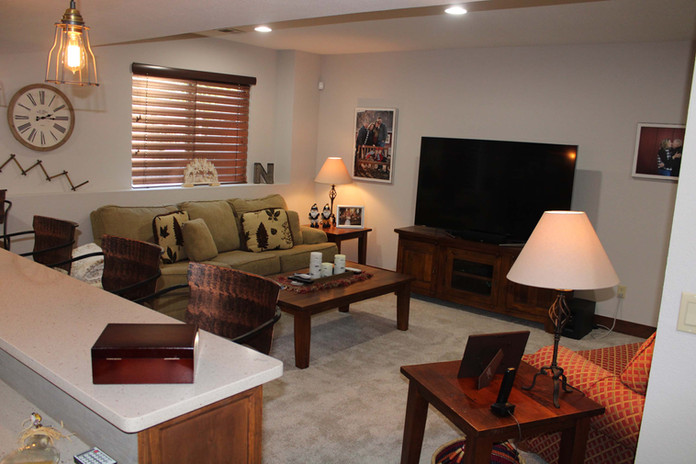 custom basement living room
