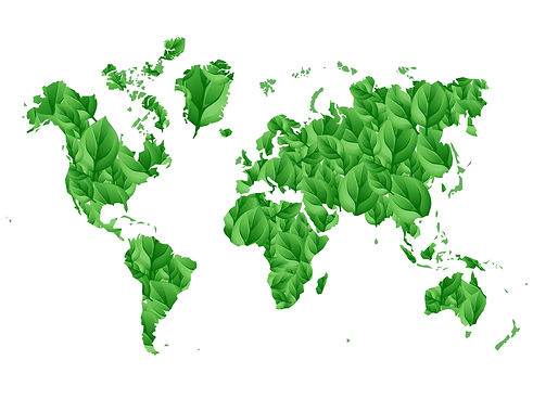 world map done in leaf pattern