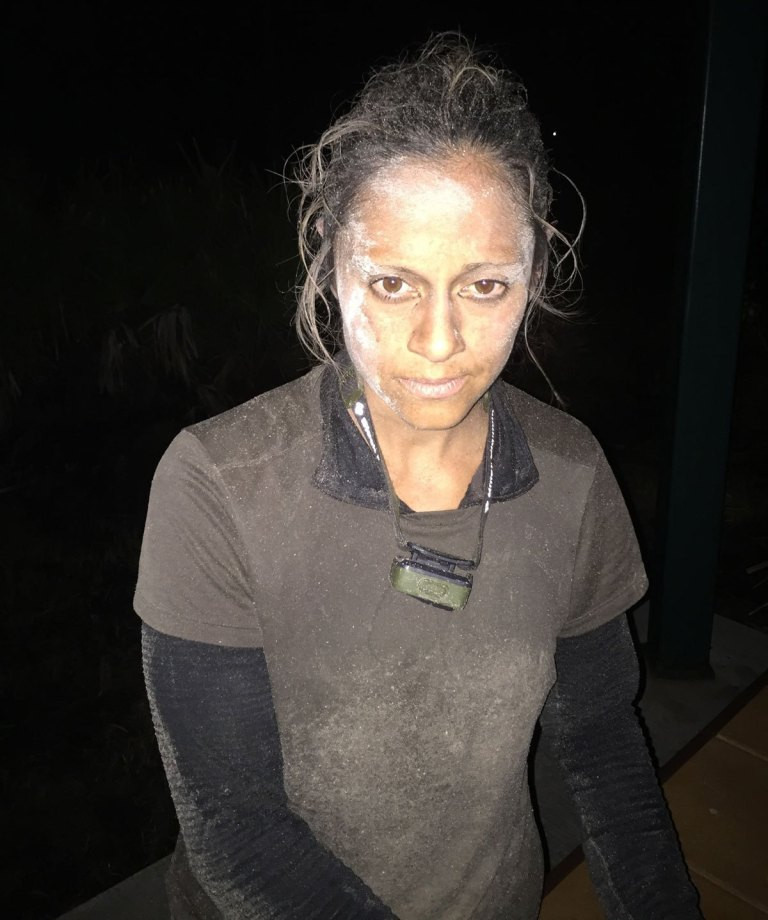 Jaala with mud on her face at GORUCK