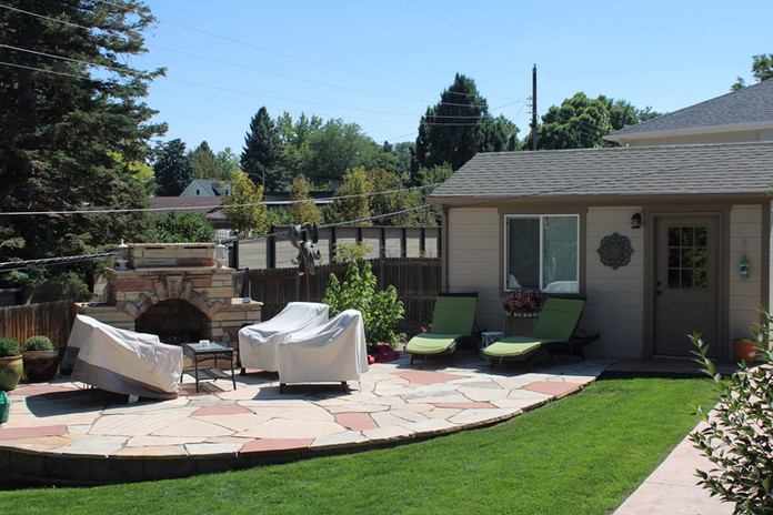 detached garage and patio