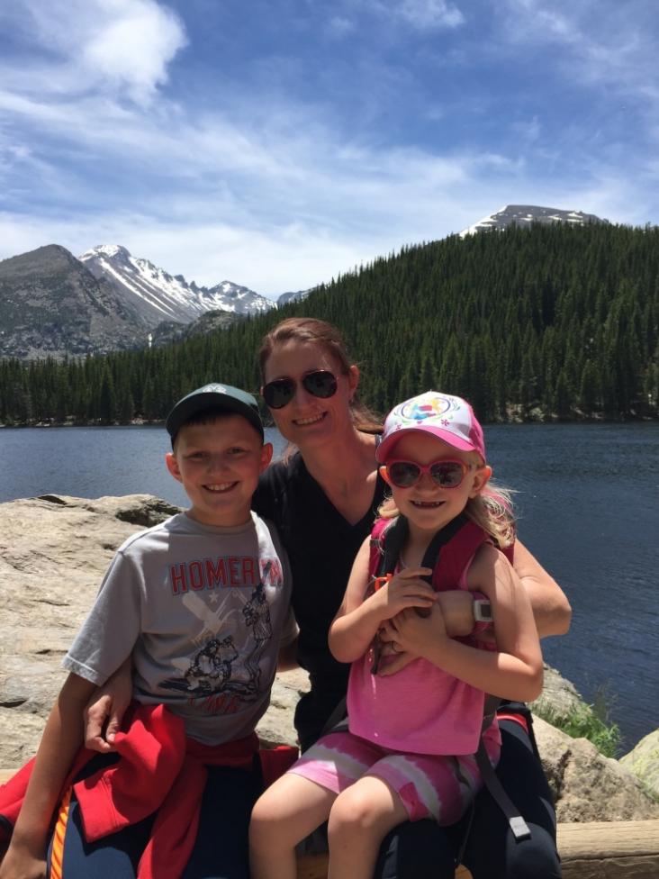 Mom hiking with kids