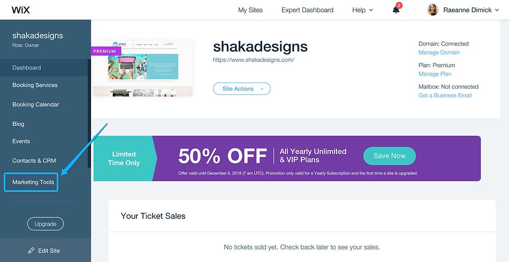 Marketing tools, wix marketing tools, shaka designs, wix dashboard, wix mailchimp integration
