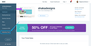 Marketing tools, wix marketing tools, shaka designs, wix dashboard, wix mailchimp integration