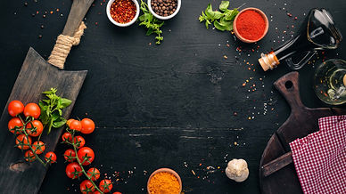 black banner with food ingredients
