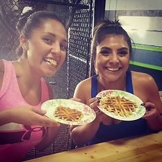 Girls eating protein waffles