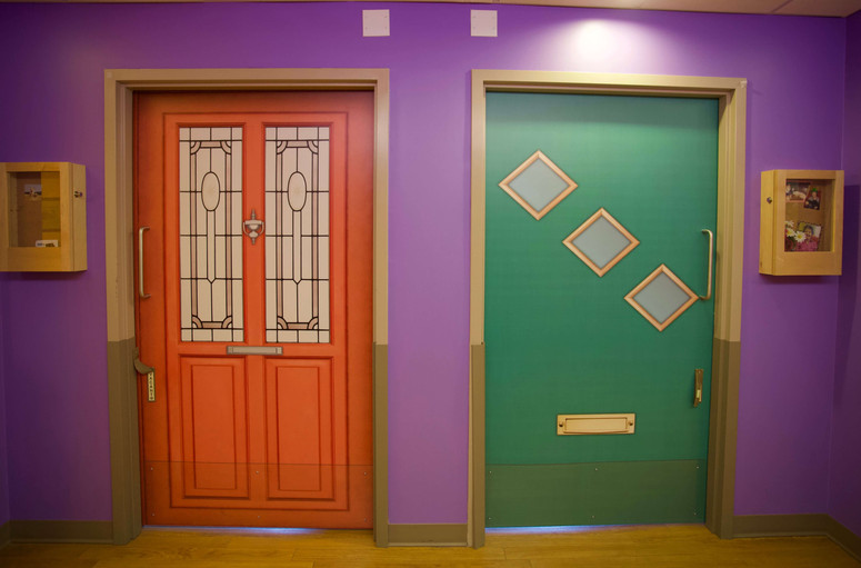 colorful resident doors at primacare