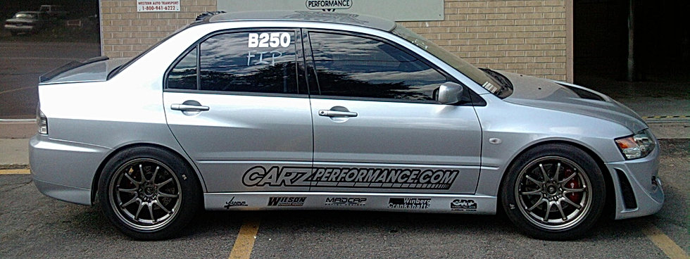 Carz Performance, Lazarus Race Cars, Madcap Racing engines, Winberg Crankshafts, GRP Connecting Rods, Western Motorsports, V. Gaines, Kendall, Dart, Colorado, Mitsubishi, EVO 8, Volk, Brembo, Precision Turbo, Full Race, Colorado