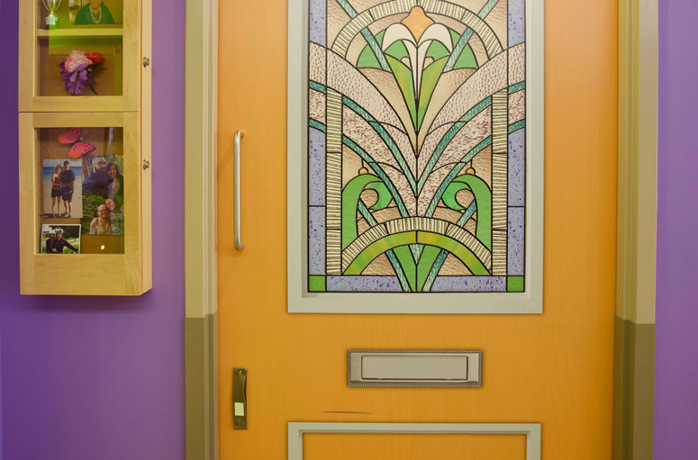colorful senior resident door