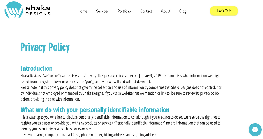 privacy policy, privacy policy template, privacy policy generator, website privacy policy, shaka designs, raeanne dimick