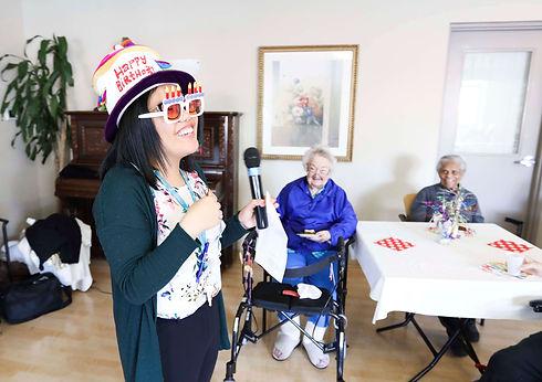 burton manor volunteer with residents