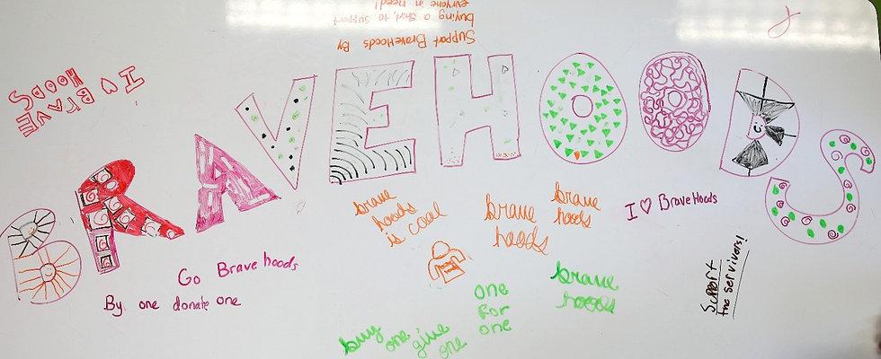 bravehoods written on white board