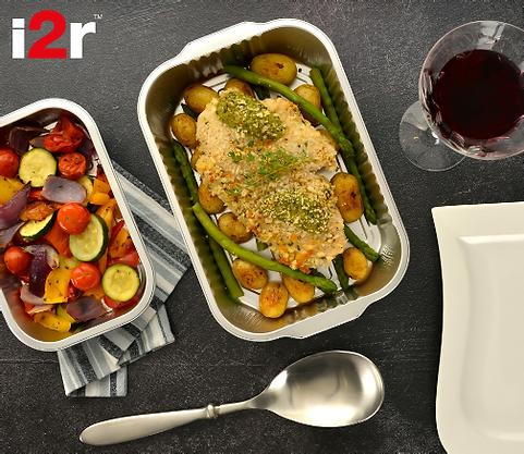 prepared meal in food packaging