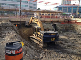 backhoe on construction site