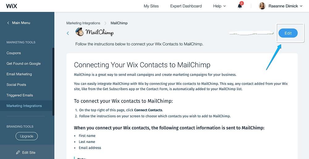 Marketing integrations, wix marketing integrations, shaka designs, wix dashboard, wix mailchimp integration