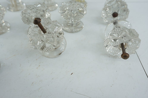 Set Of 13 Sandwich Glass Drawer Knobs Late 1800s