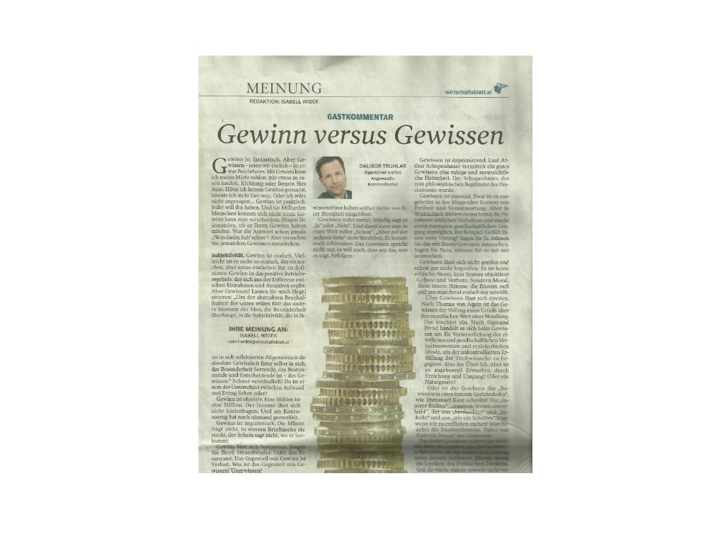 Wirtschaftsblatt-Artikel