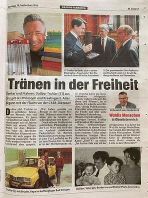 Dalibor Truhlar Artikel von Reinhard Waldenberger in der Kronen Zeitung