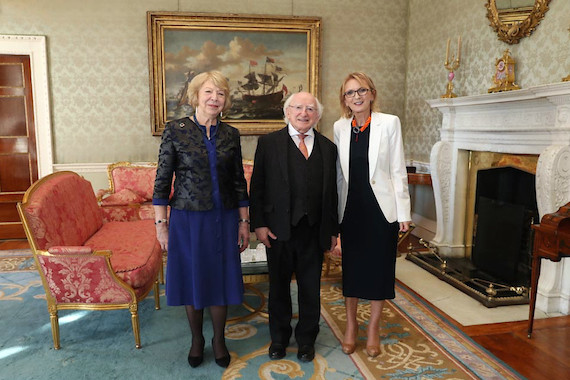 Prof. Therese Kinsella with President Michael D. Higgins and his wife Sabina Higgins, at Áras an Uachtaráin.