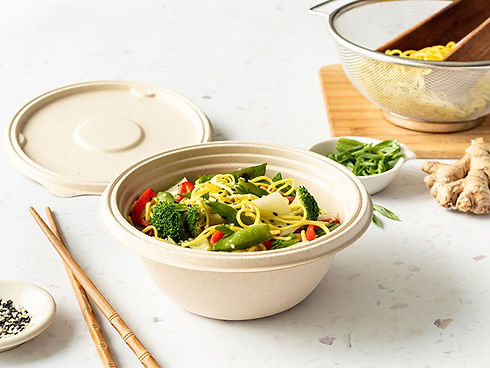 750mm Leakproof round bagasse bowl and lid packaging chinese noodles and stir fry vegetabl