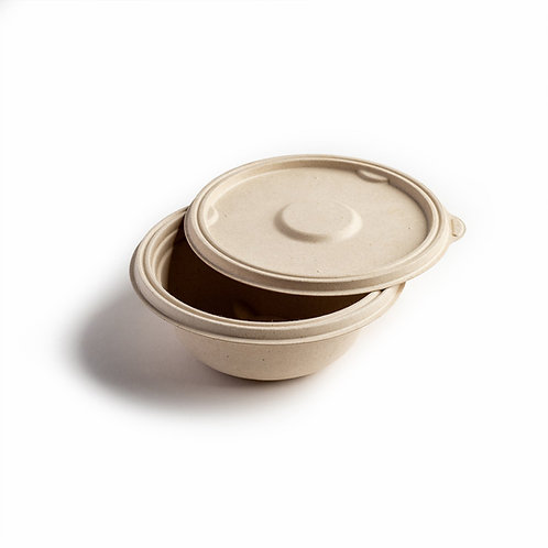 Leakproof Bagasse Lid for Round Bowl 500ml