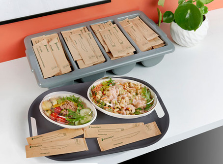 Dining in the new normal with sustainable and hygienic wrapped wooden cutlery