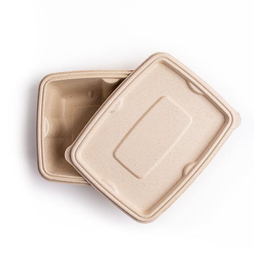 Leakproof Bagasse Lid for Rectangular Containers
