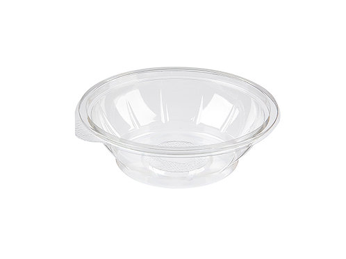 500ml clear salad container or bowl made from recycled rPET plastic. Lid available.