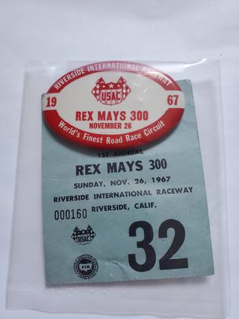 1967 Rex Mays Pit Badge - Olsonite's 1st