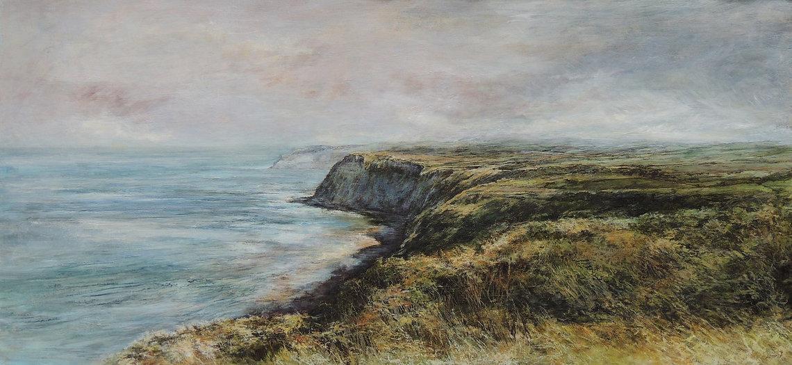 Sue Lawson landscape painter oroginal landscapes atmospheric oil paintings English landscape painter skies cliffs fields trees seascapes