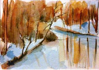 Aquarelle au bord du Doubs