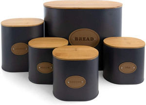 Grey & Wood Canister Set