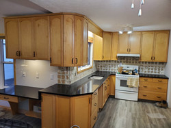 Coffee Brown Kitchen with waterfall acce