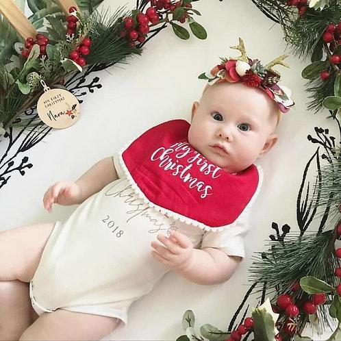 Red My First Christmas Bib