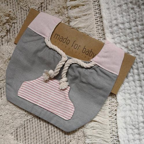 Pink Stripe Hoodie Bib