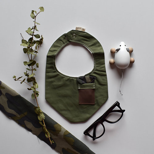 Green Camo Pocket Square Bib